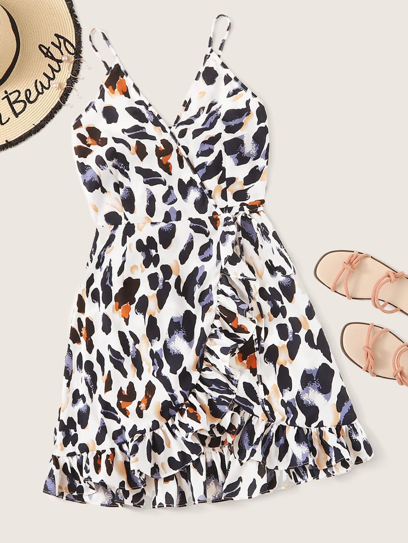 Фото - Платье на бретелях с леопардовым принтом и оборками от SheIn цвет многоцветный