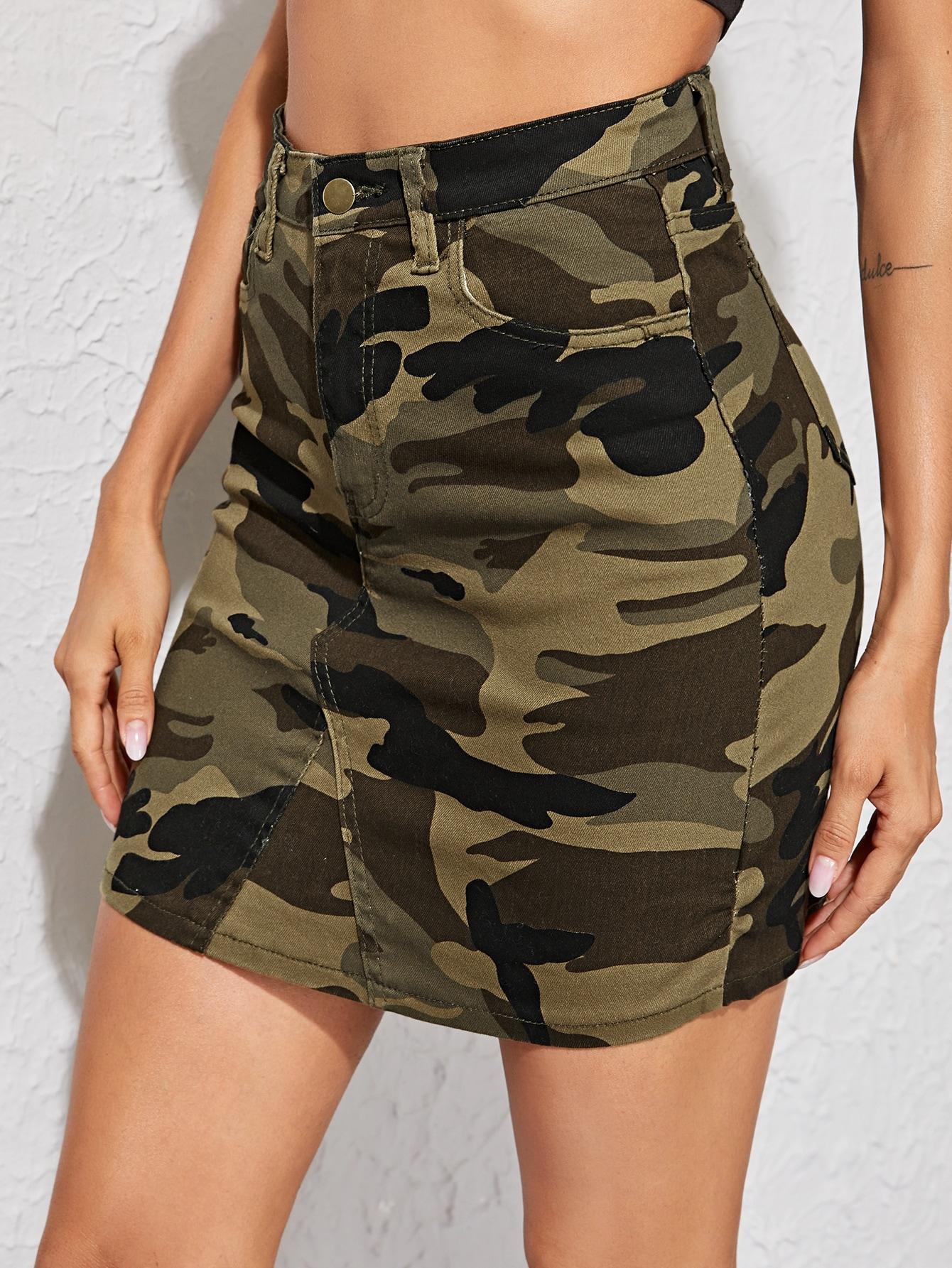 Фото - Джинсовая юбка с камуфляжным принтом от SheIn цвет многоцветный