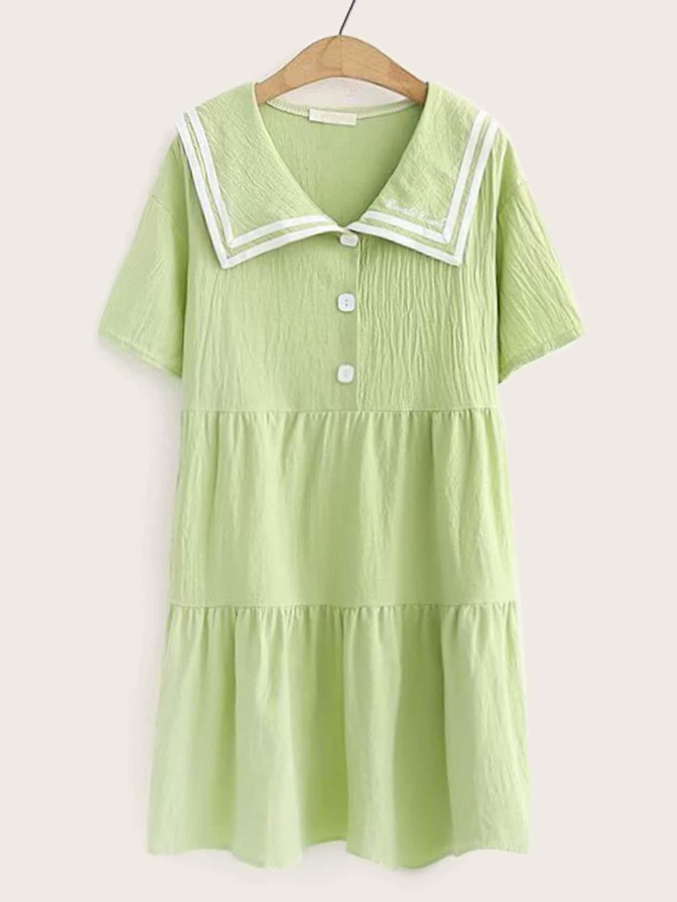 Фото - Платье с оригинальным воротником и текстовой вышивкой от SheIn цвет зелёные
