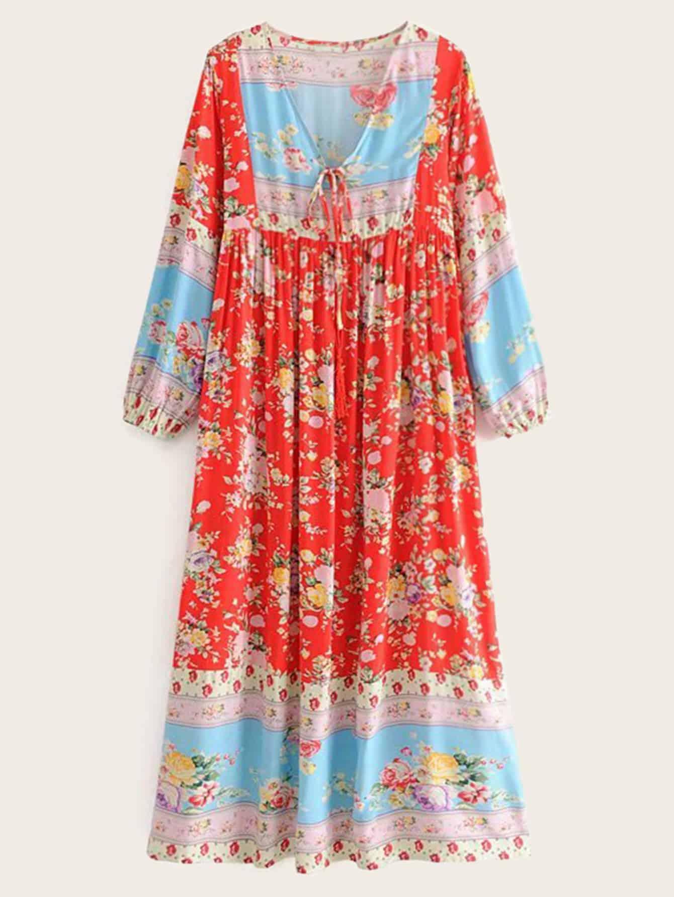Фото - Платье с v-образным вырезом и цветочным принтом от SheIn цвет многоцветный