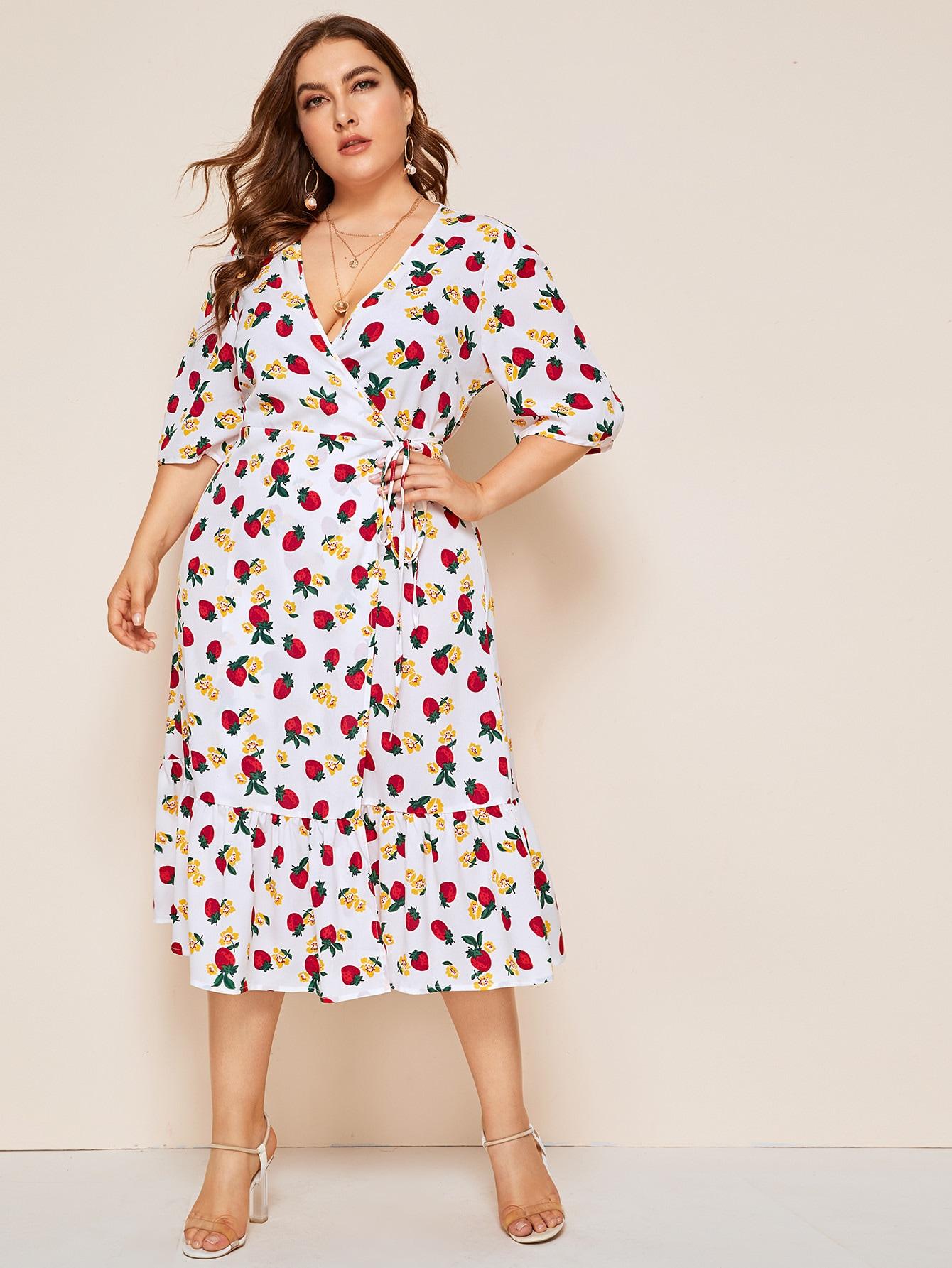 Фото - Платье на запах с узлом и графическим принтом размера плюс от SheIn цвет многихцветные