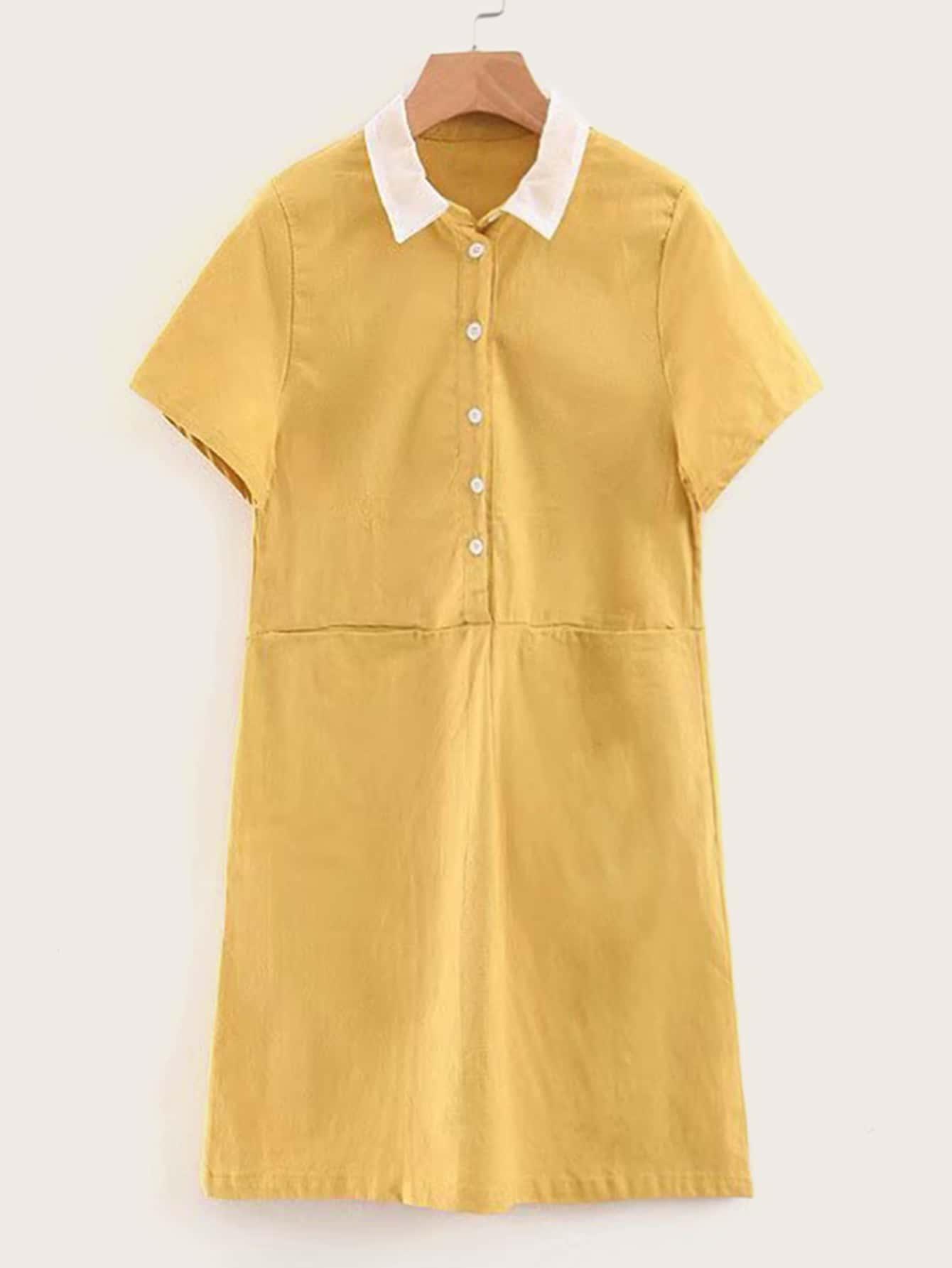 Фото - Платье-рубашка с пуговицами и контрастным воротником от SheIn цвет жёлтые