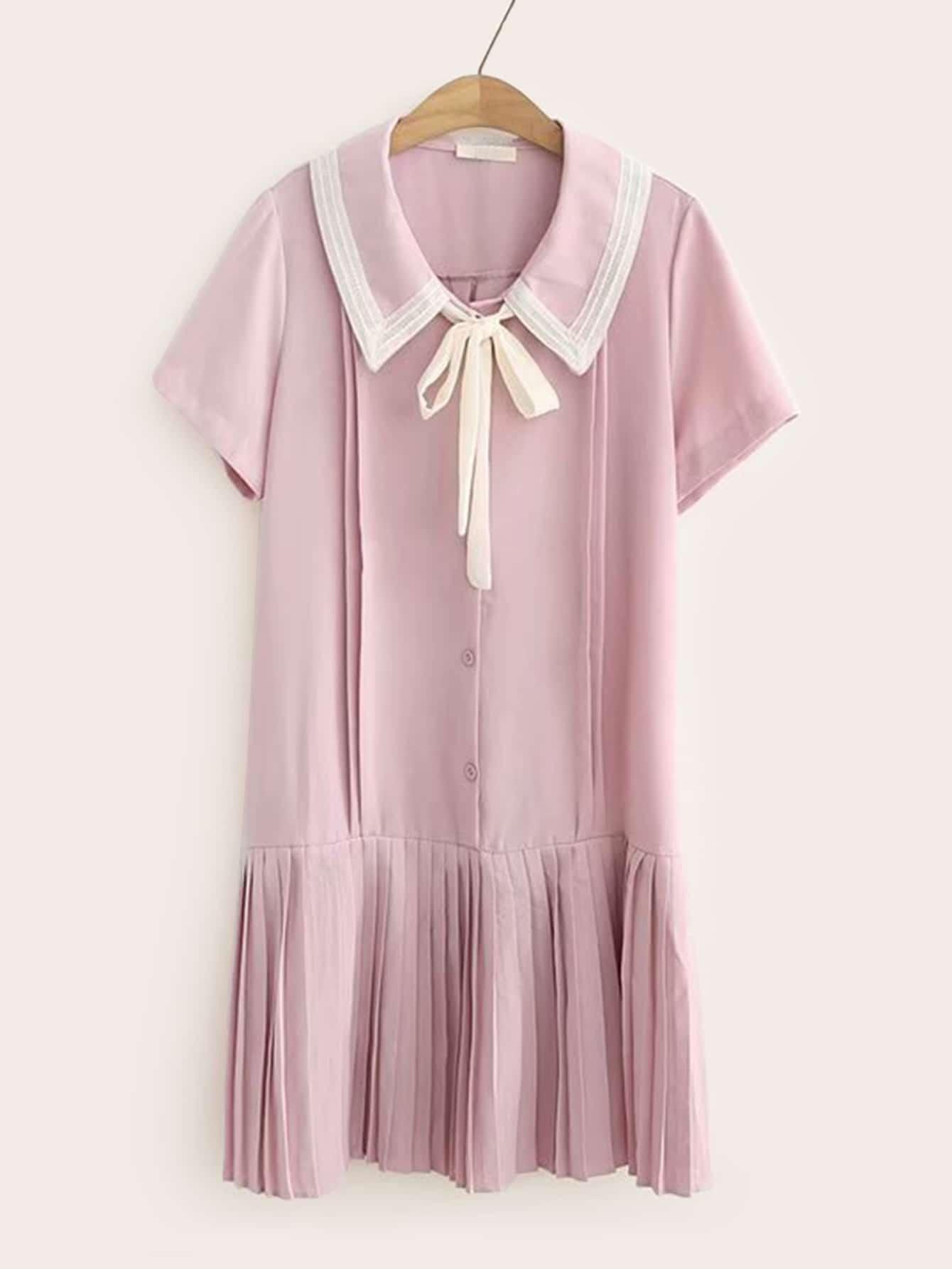 Фото - Платье со складками и воротником-бантом от SheIn цвет розовые