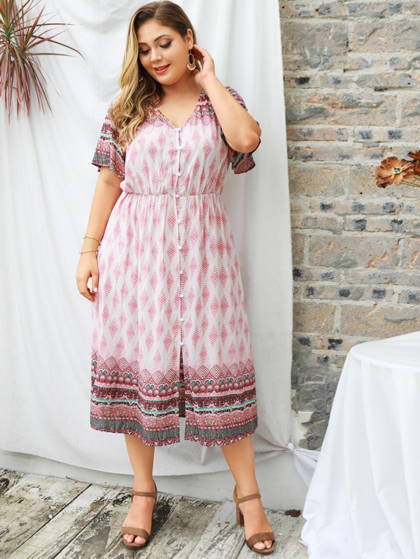 Фото - Платье с пуговицами и графическим принтом размера плюс от SheIn цвет многихцветные