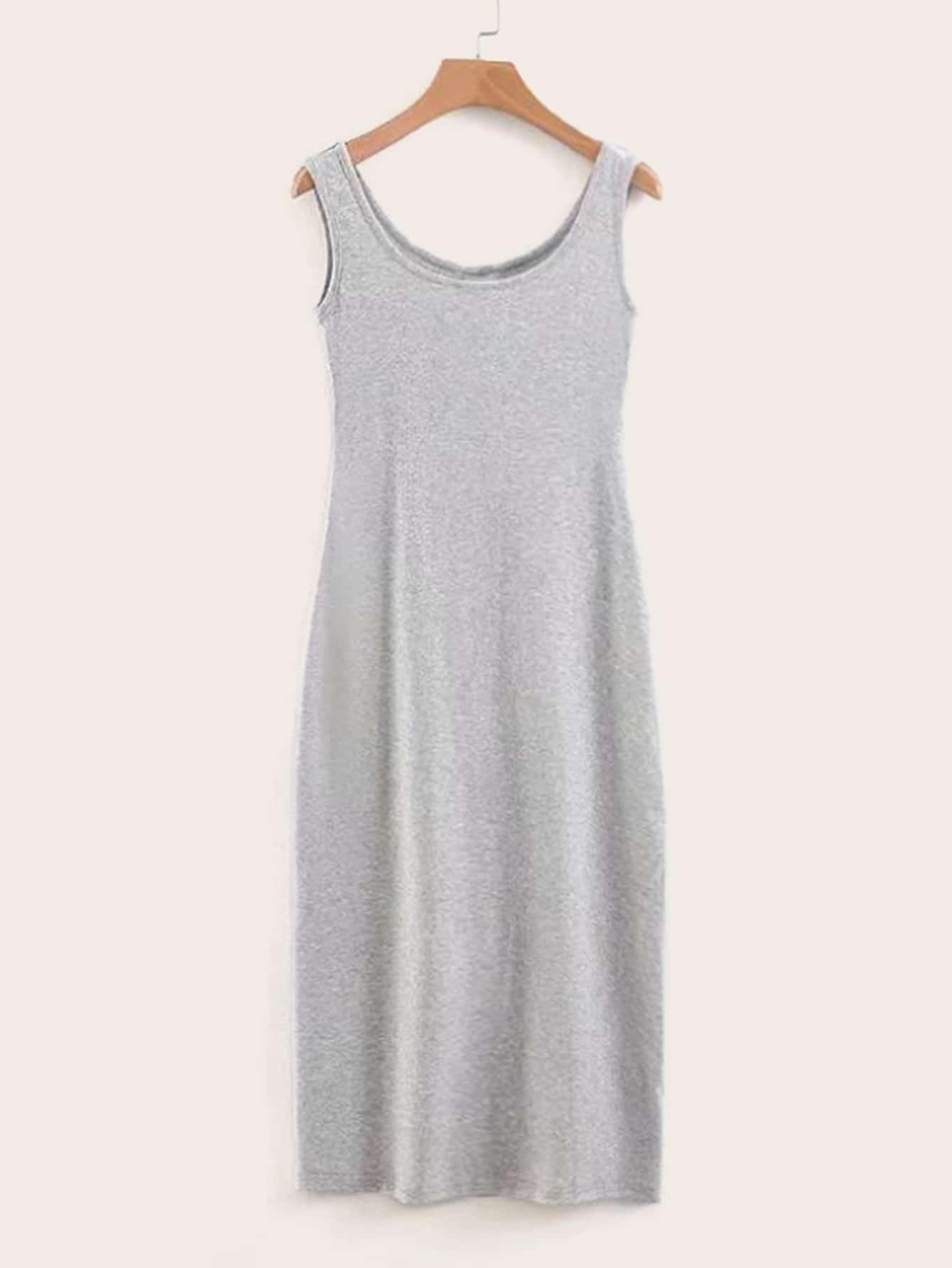 Фото - Однотонное платье с глубоким круглым вырезом от SheIn цвет серые