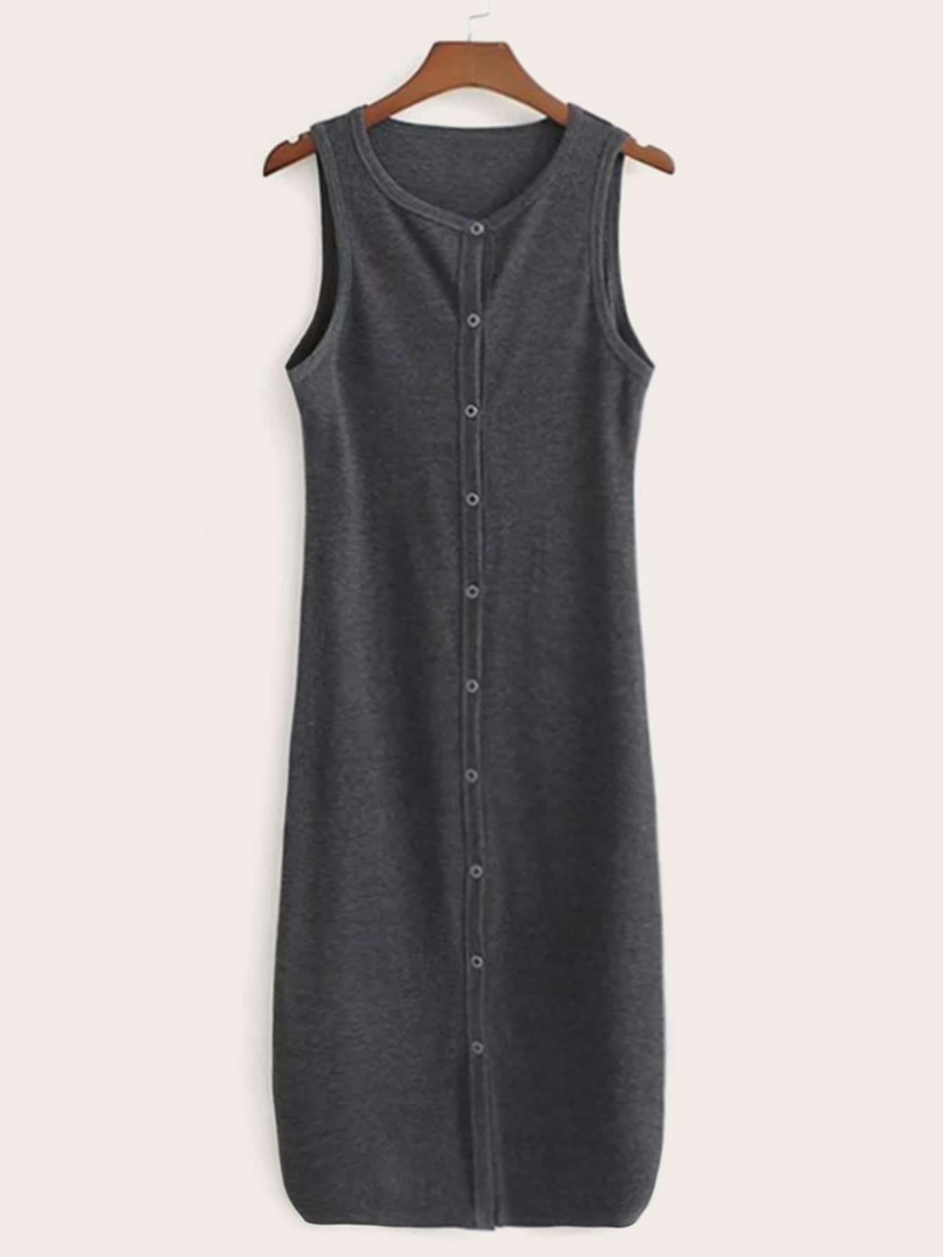 Фото - Однотонное платье с пуговицами от SheIn цвет серые