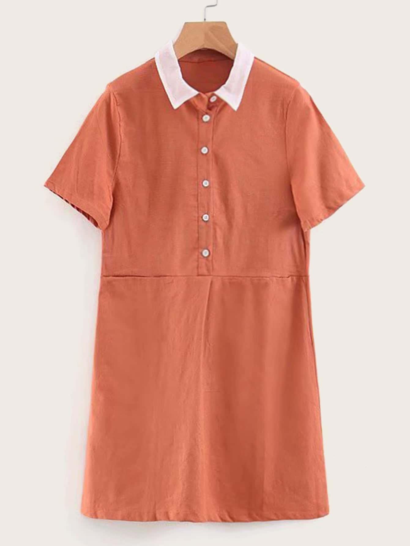 Фото - Платье-рубашка с пуговицами и контрастным воротником от SheIn цвет оранжевые