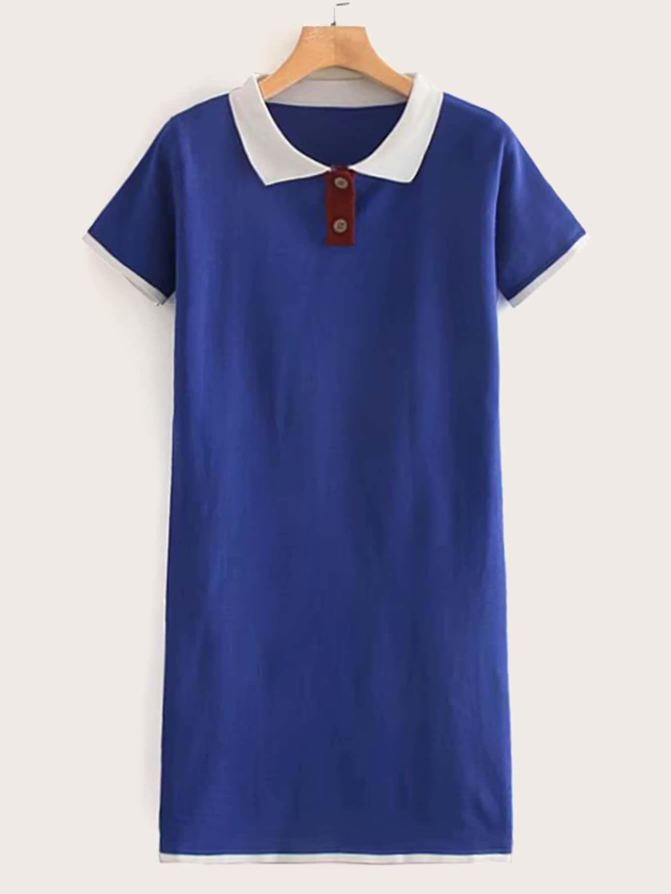 Фото - Платье в рубчик с контрастным воротником от SheIn цвет синие