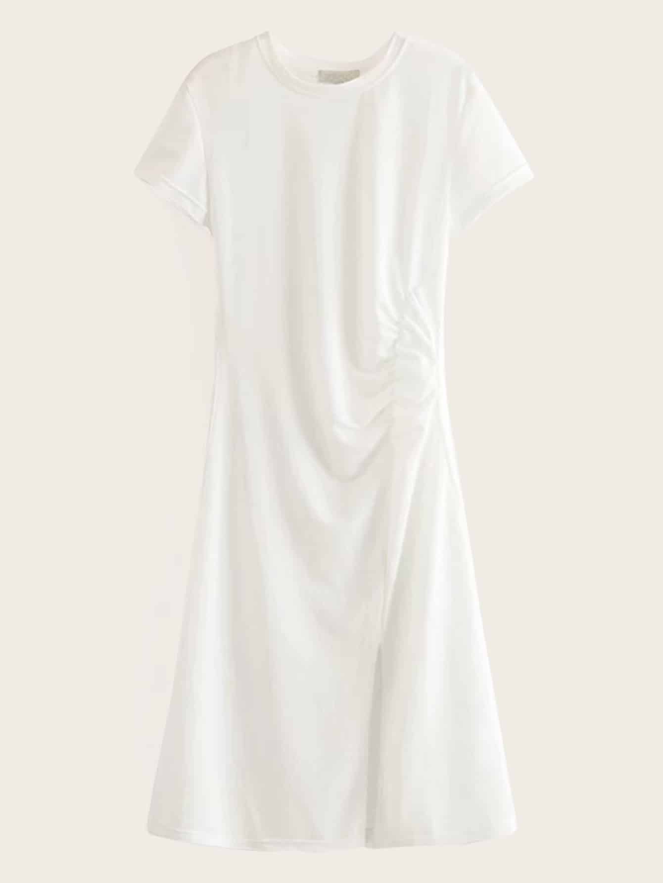 Фото - Однотонное платье-футболка с разрезом от SheIn цвет белые