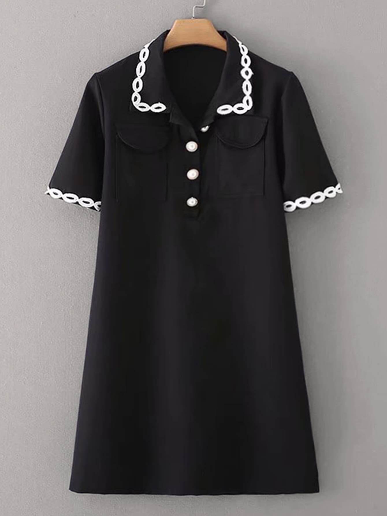 Фото - Платье-рубашка с карманом от SheIn цвет чёрные