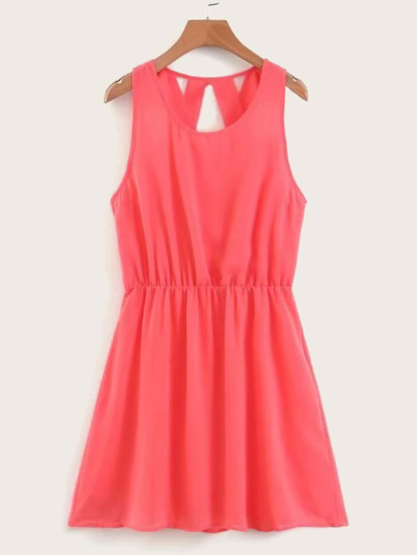 Фото - Однотонное шифоновое платье без рукавов от SheIn цвет красные