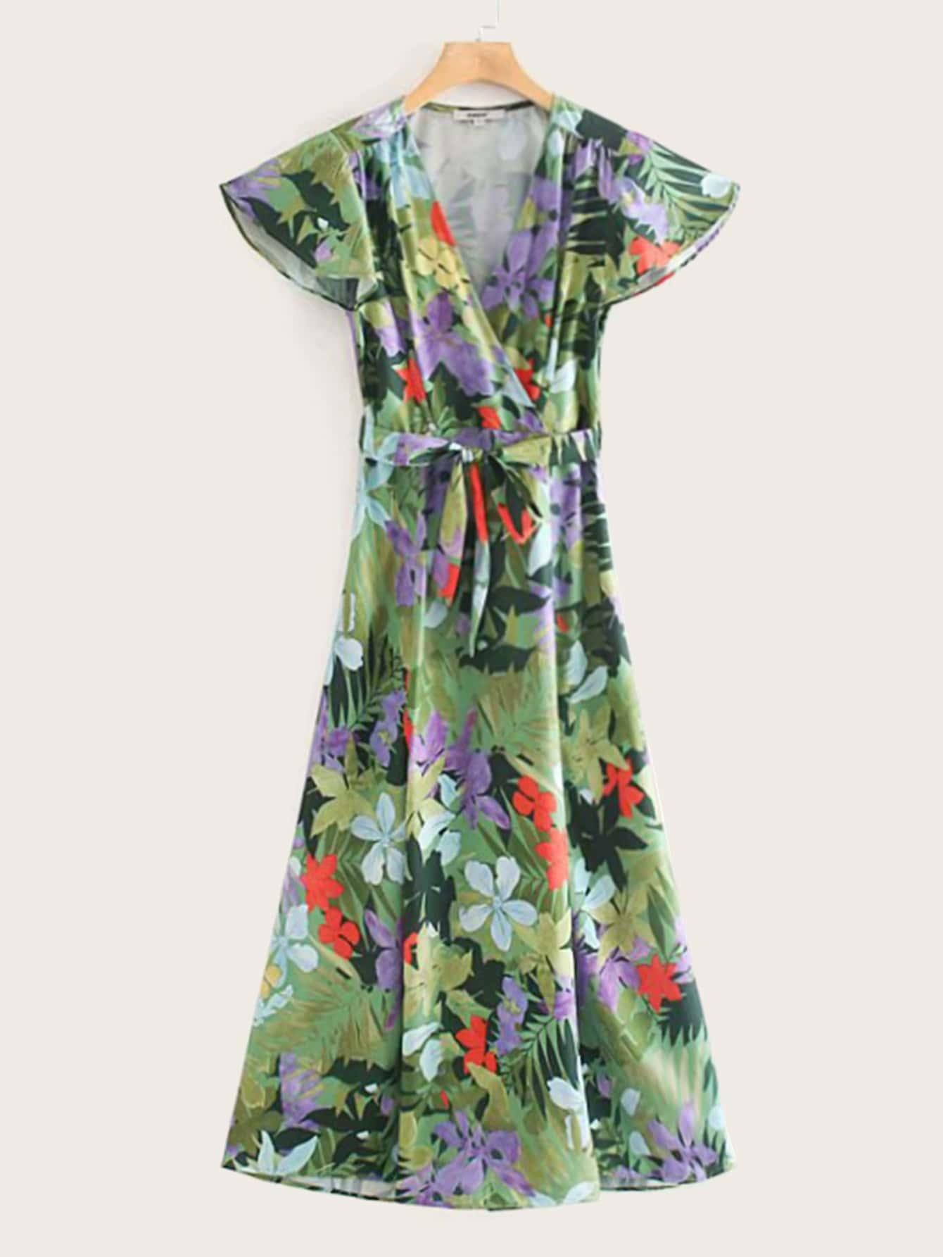 Фото - Платье с v-образным вырезом, тропическим принтом и поясом от SheIn цвет многоцветный