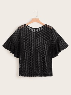 Plus Flounce Sleeve Dobby Mesh Top Without Bra