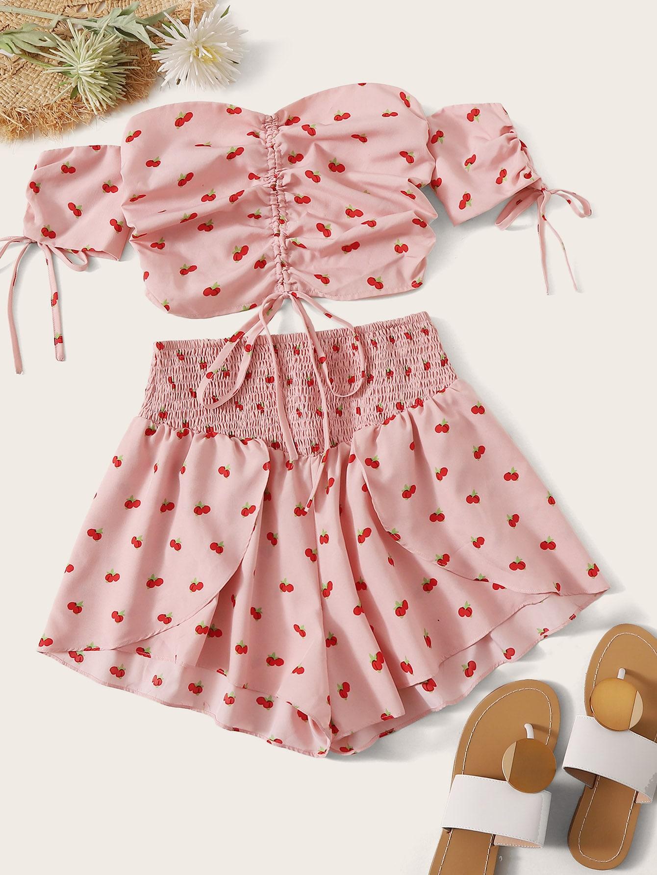 Фото - Топ с кулиской и шорты от SheIn розового цвета