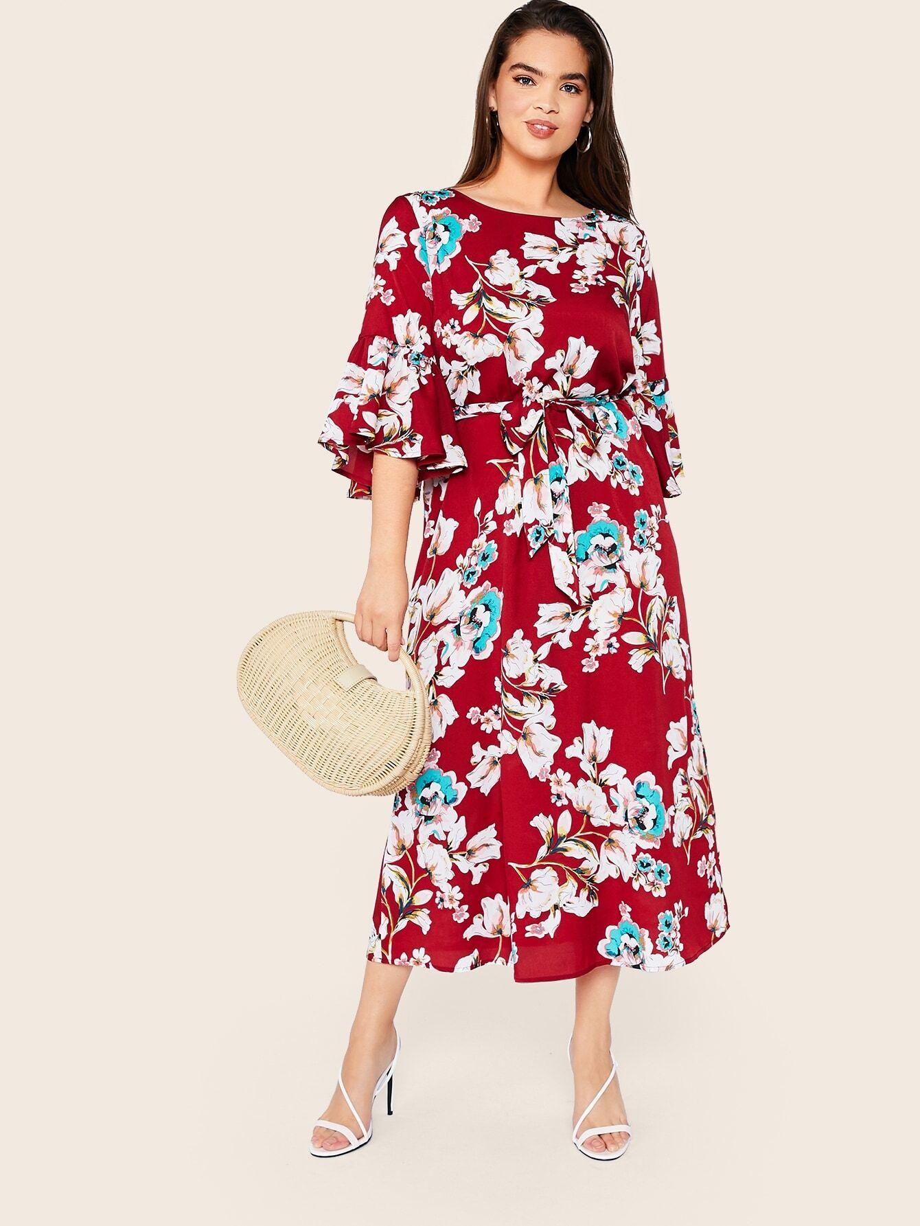 Фото - Платье с поясом, цветочным принтом и оборкой размера плюс от SheIn цвет многихцветные