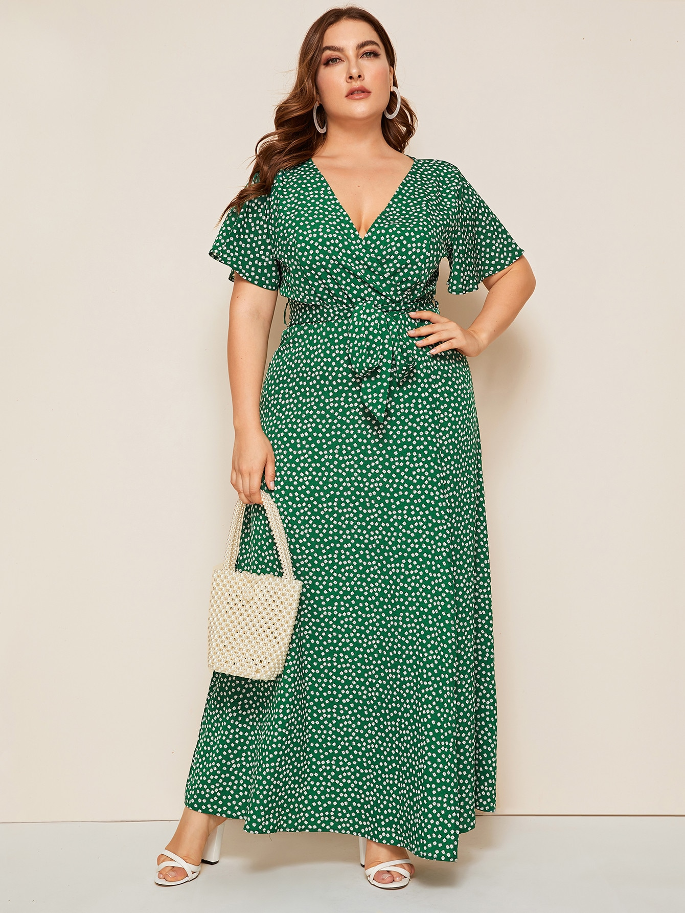 Plus Ditsy Floral Surplice Front Belted Dress