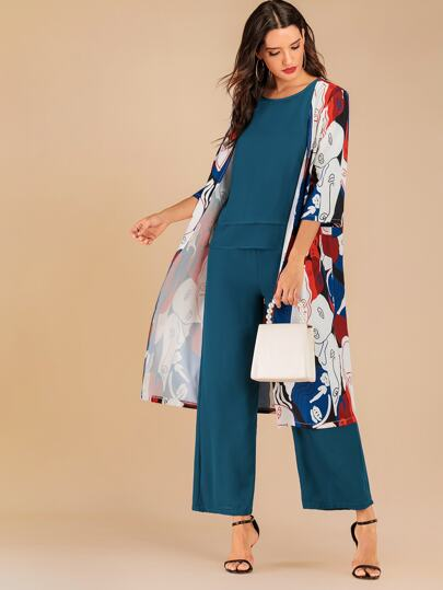 SheIn / Solid Top And Pants Set With Figure Print Coat