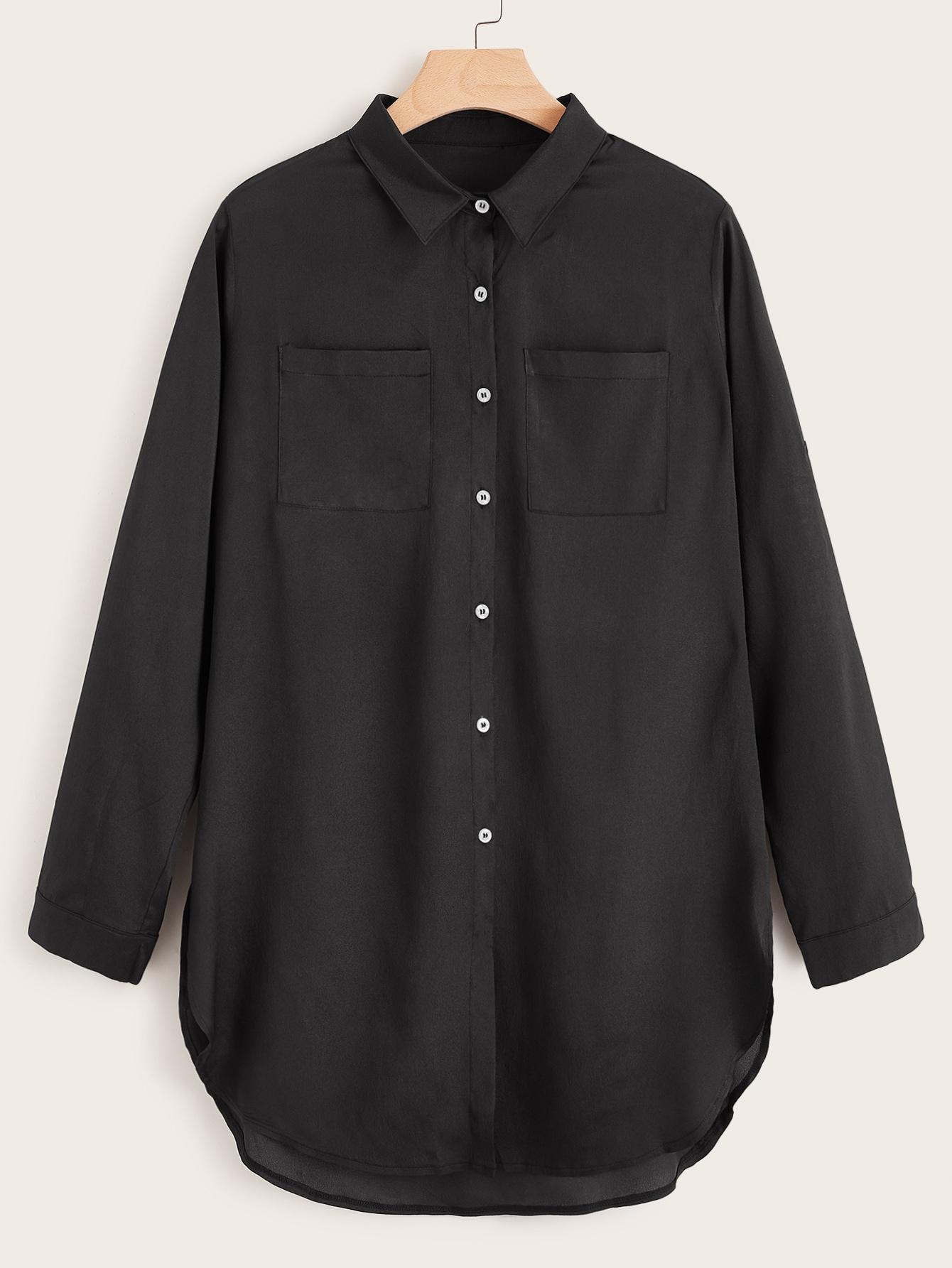 Фото - Блузу размера плюс с пуговицами и карманом от SheIn цвет чёрные