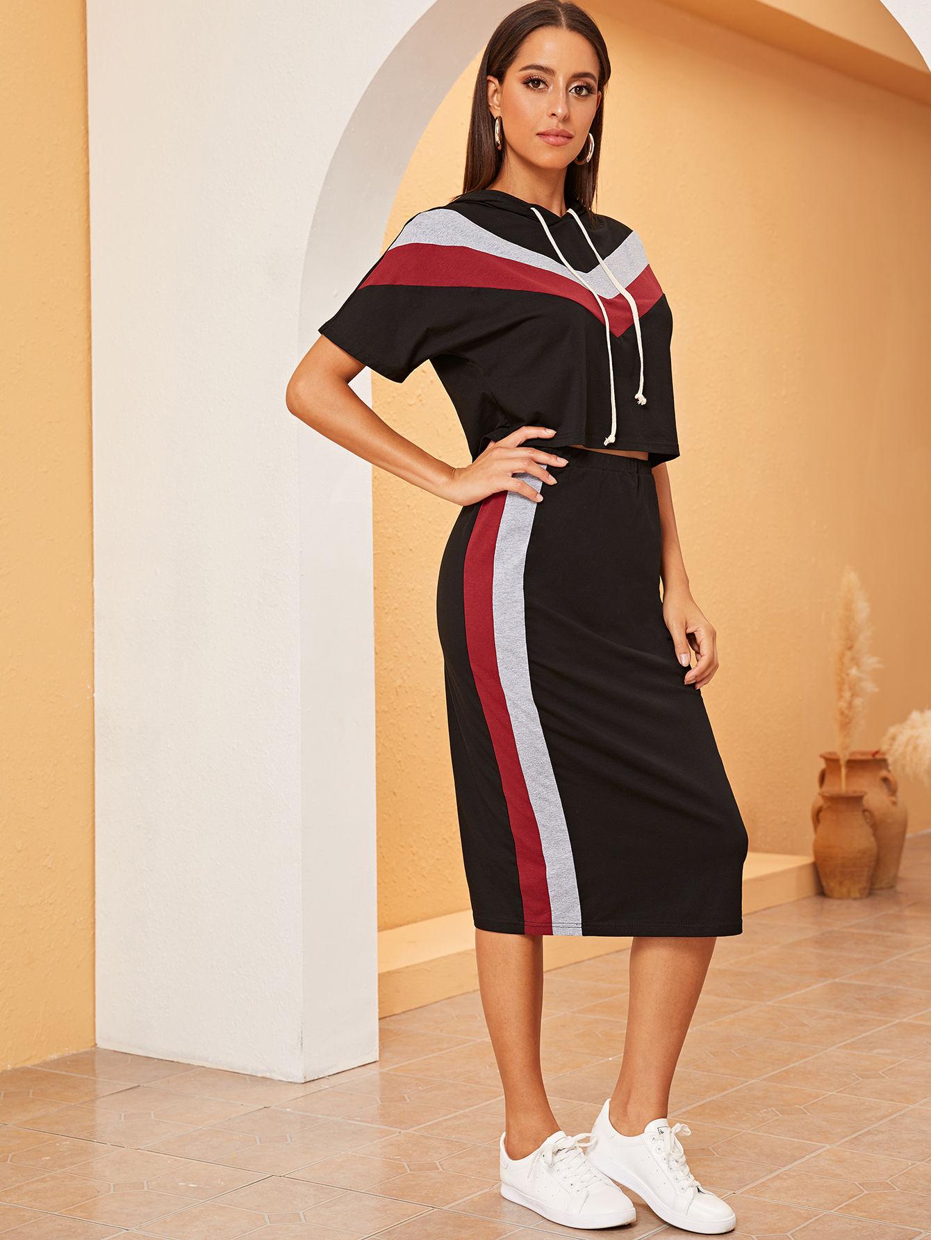 Фото - Толстовку и контрастная юбка-карандаш от SheIn черного цвета
