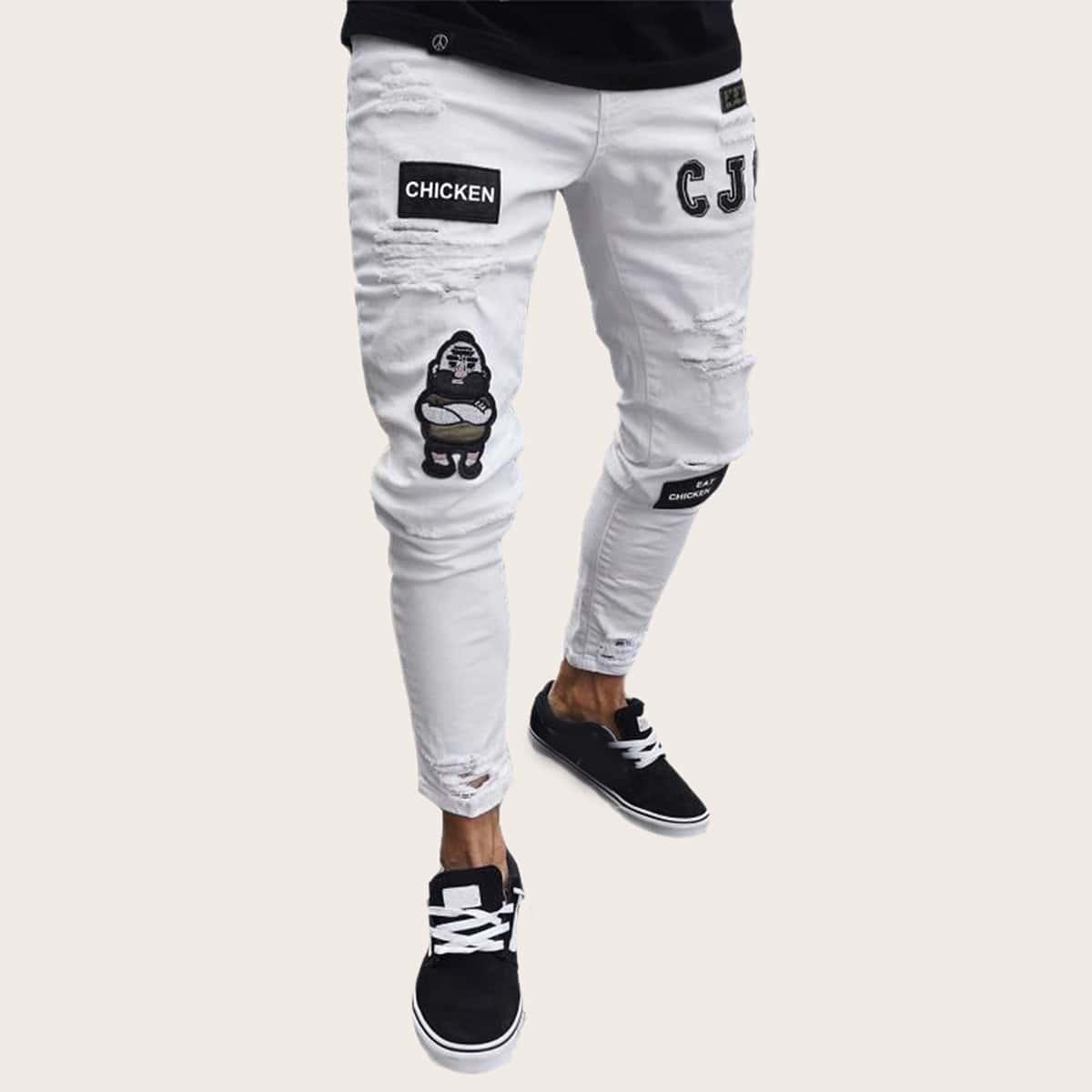Wit Casual Heren Jeans Gescheurd