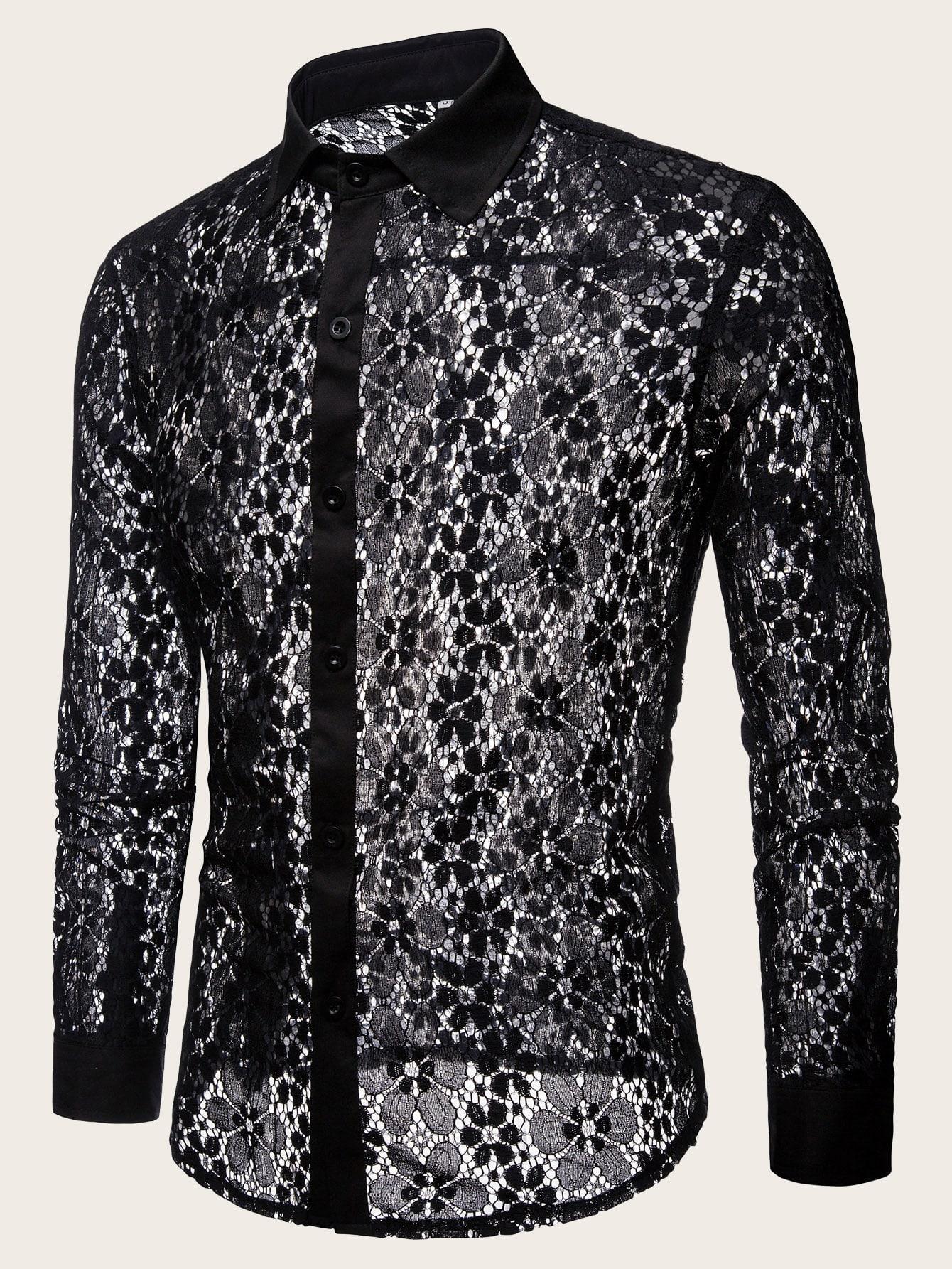 Фото - Мужская однобортная прозрачная рубашка с кружевом от SheIn черного цвета