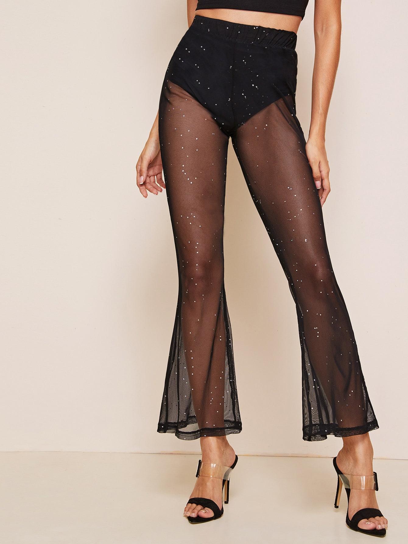 Фото - Прозрачные расклешенные брюки с блестками от SheIn черного цвета