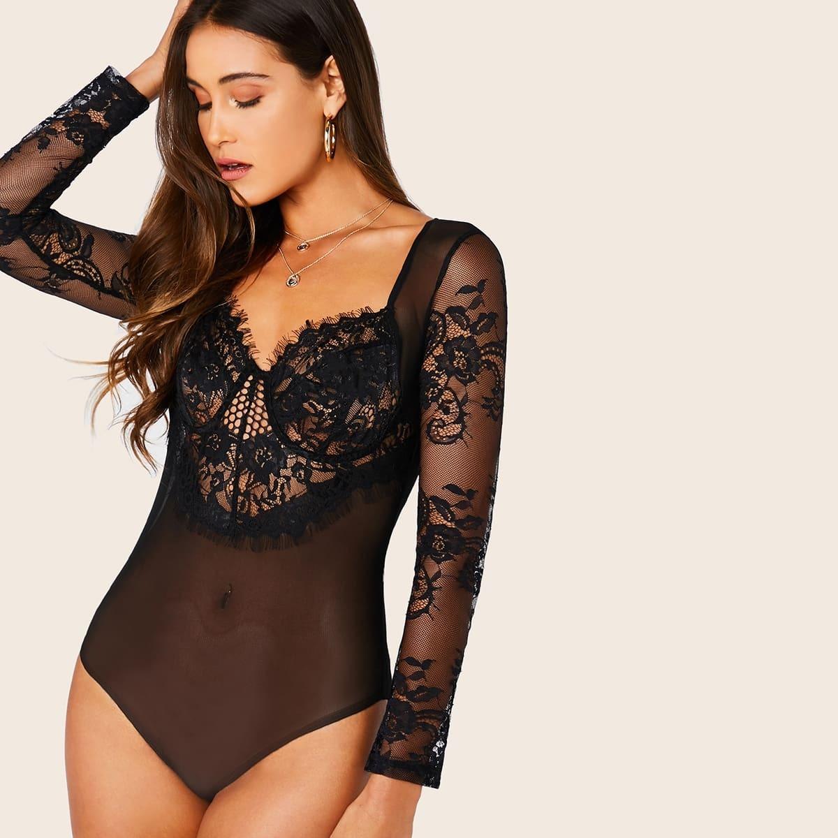 Zwart Sexy Bodysuits Contract kant