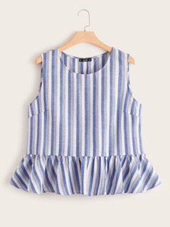 Plus Striped Peplum Top