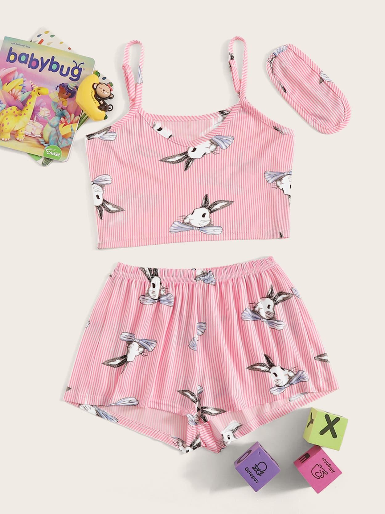 Фото - Полосатая пижама на бретелях с графическим принтом и маска для глаз для девочек от SheIn цвет розовые
