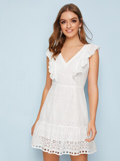 Zip Back Ruffle Trim Schiffy Dress