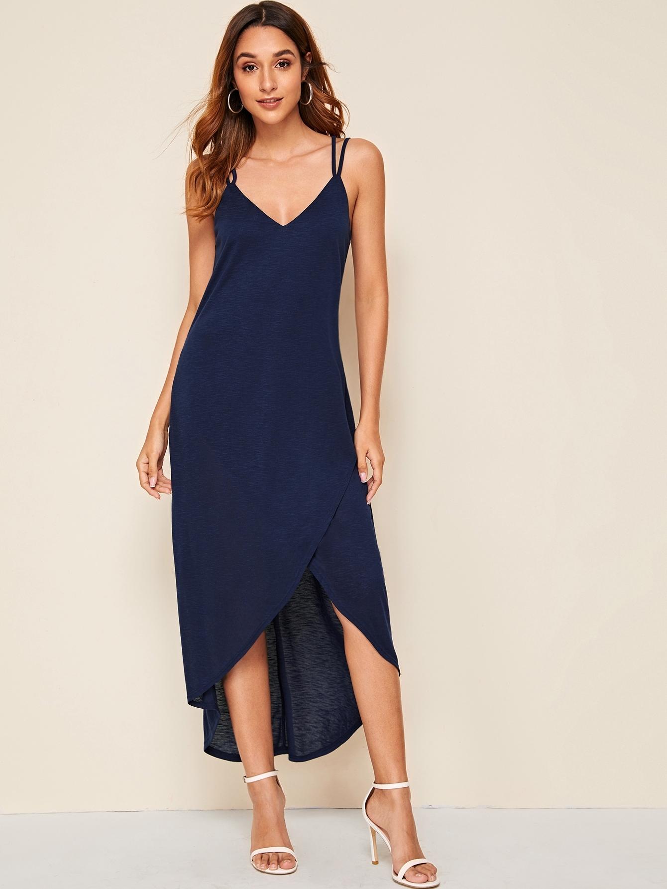 Фото - Асимметричное платье с открытой спинкой от SheIn цвет тёмно-синие