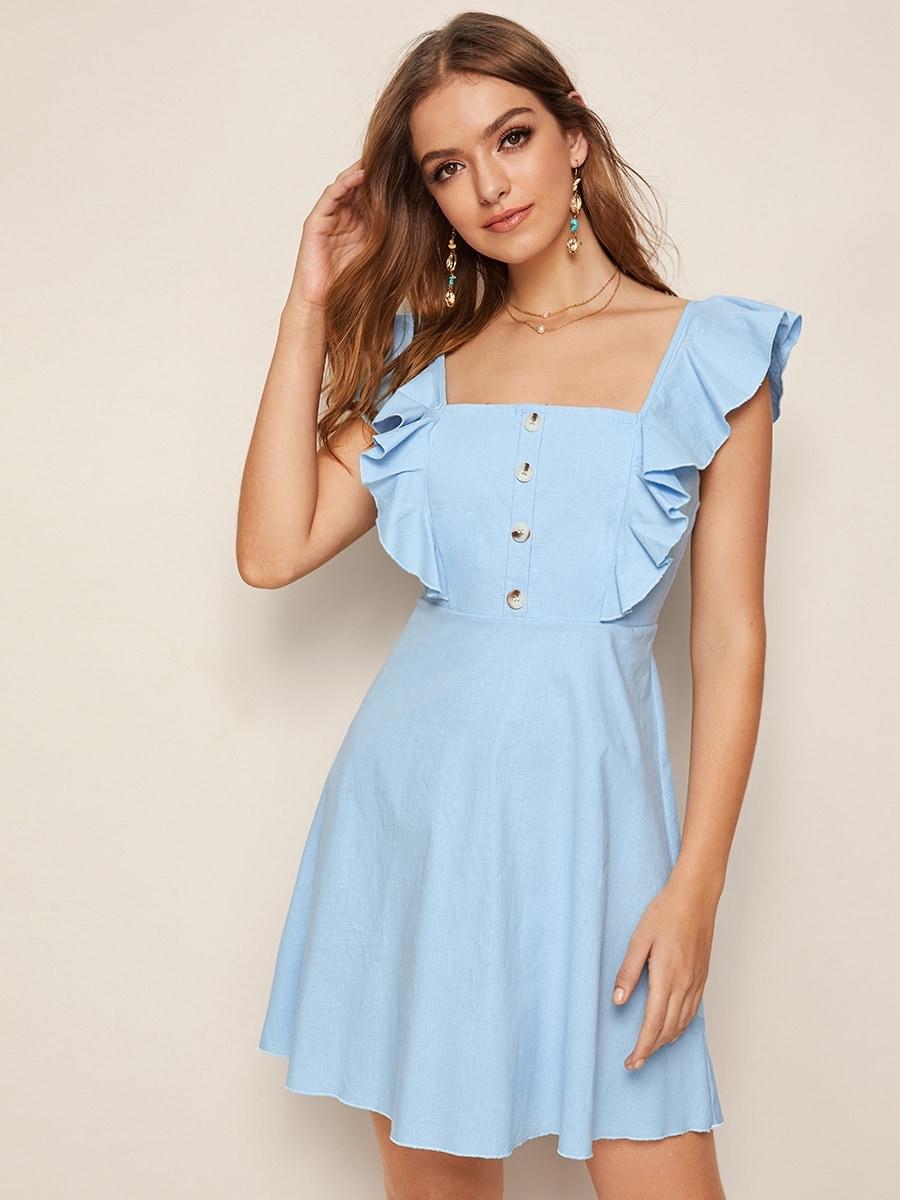 Фото - Однотонное платье с пуговицами от SheIn цвет синие