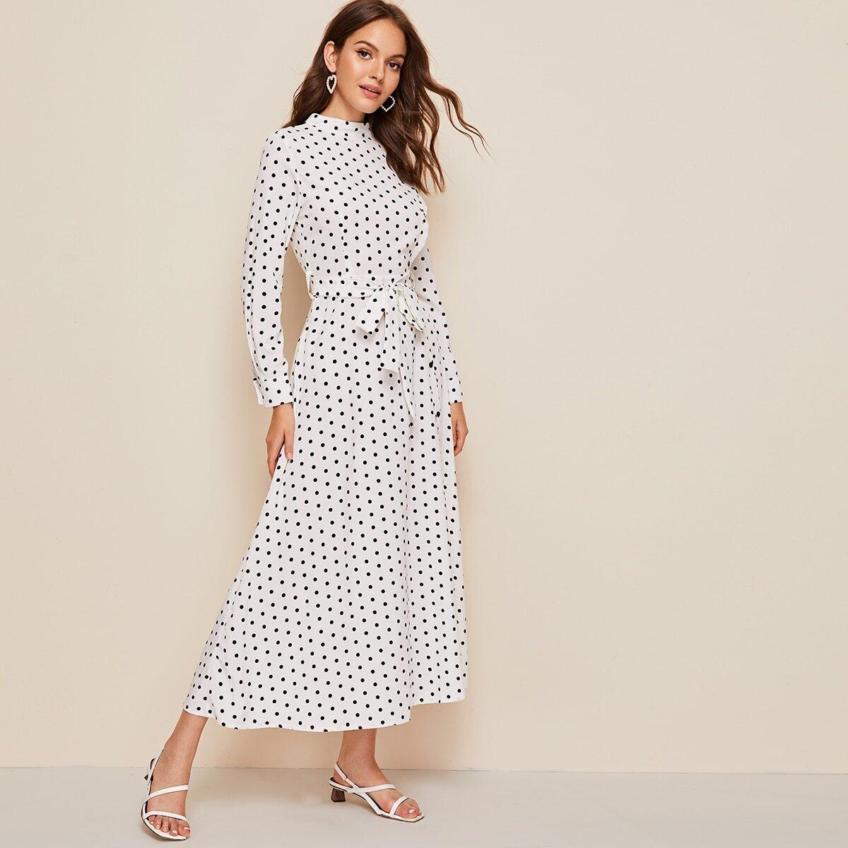 SHEIN / Kleid mit Stehkragen und Gürtel