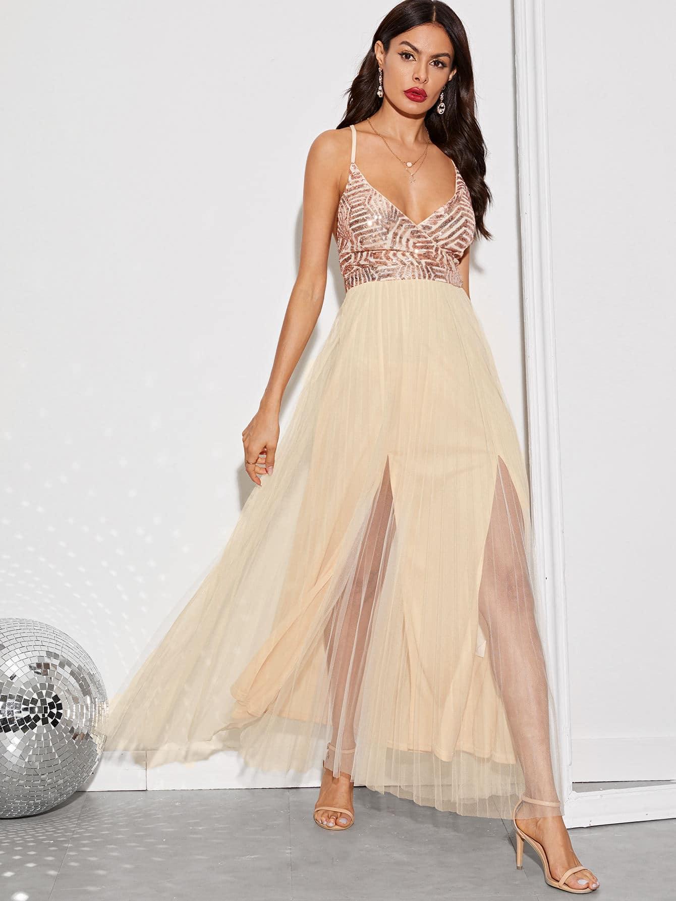 Фото - Платье с разрезом, блестками и узлом сзади от SheIn цвет бежевые