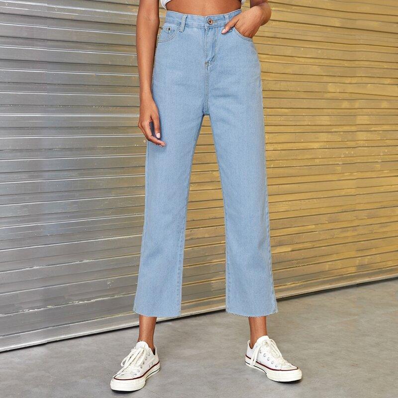 Button Waist Straight Leg Solid Jeans, Blue