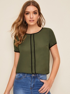 Contrast Binding Keyhole Back Top