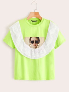 Neon Lime Lace Trim Figure Print Tee