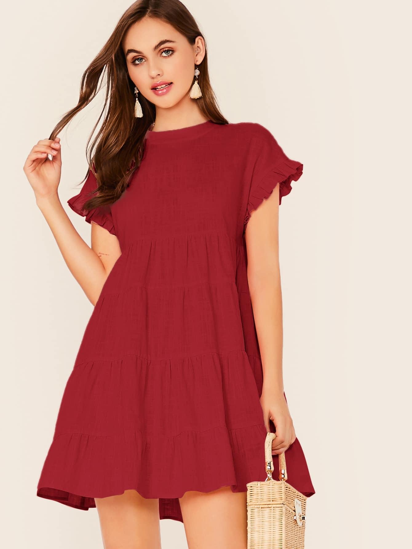 Фото - Однотонное платье с оборкой от SheIn цвет бургундия