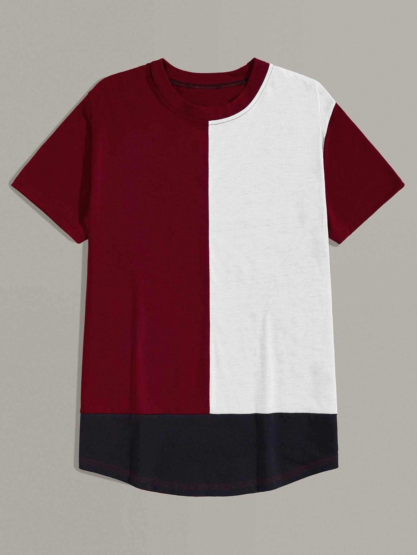 Фото - Мужская контрастная футболка от SheIn цвет многихцветный