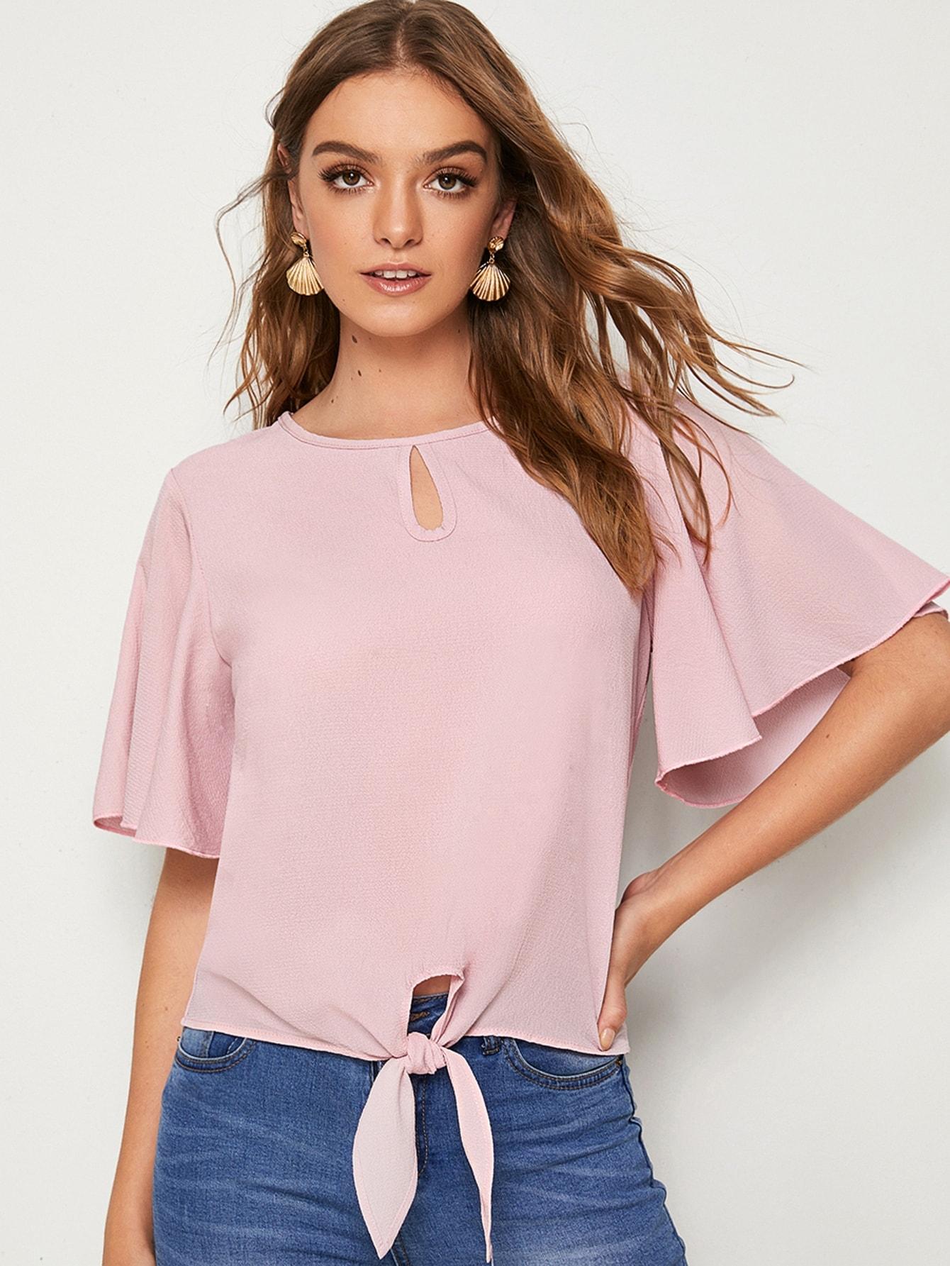 Фото - Блузу с узлом и оригинальным рукавом от SheIn розового цвета