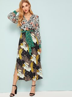 Mixed Scarf Print Surplice Dress With Belt
