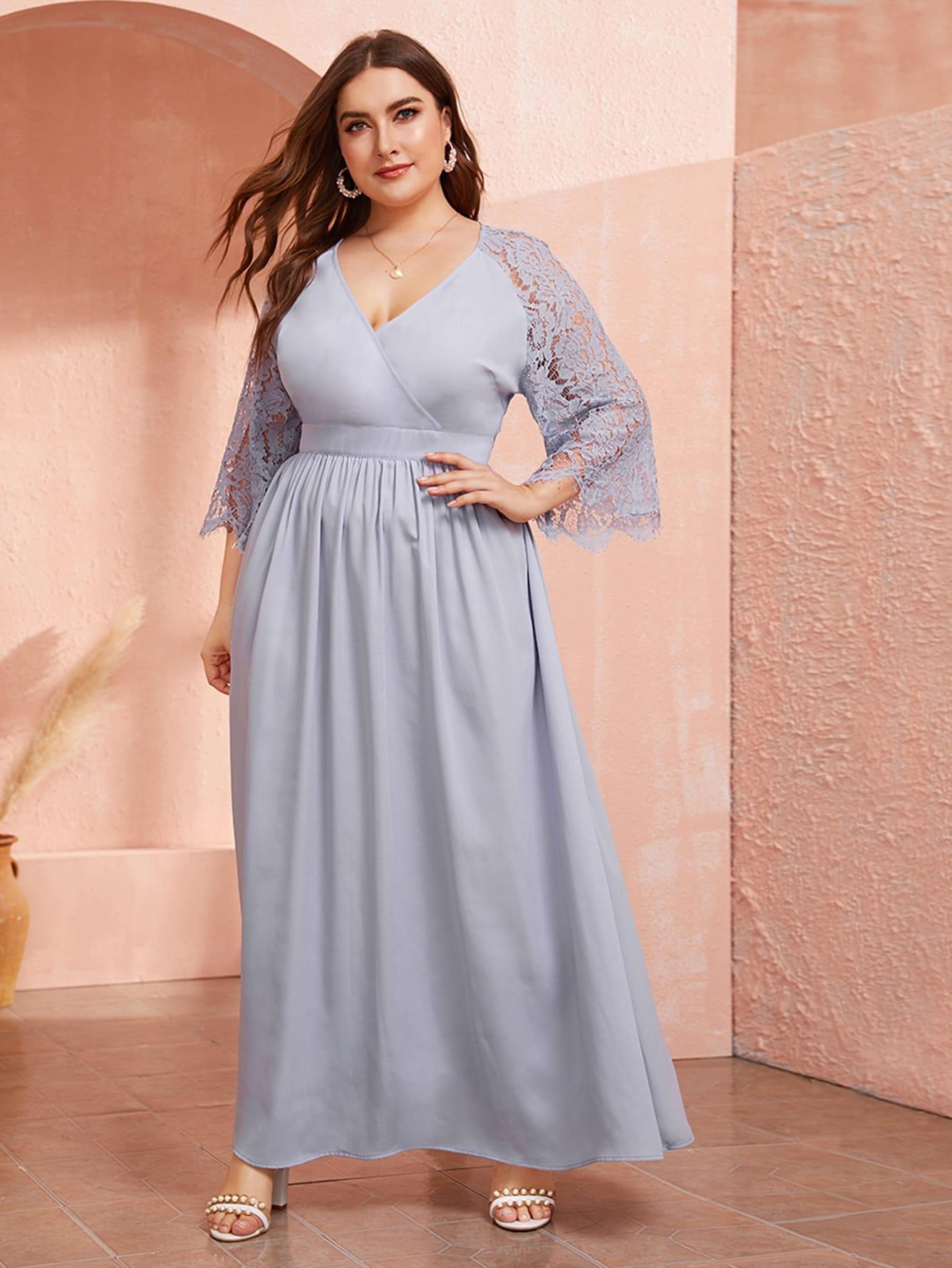 Платье размера плюс с кружевным рукавом