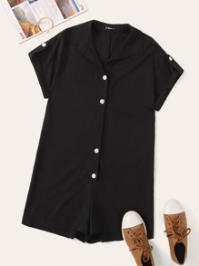 Button Front Roll Up Sleeve Romper