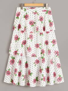 Floral & Dot Print Layered Ruffle Skirt