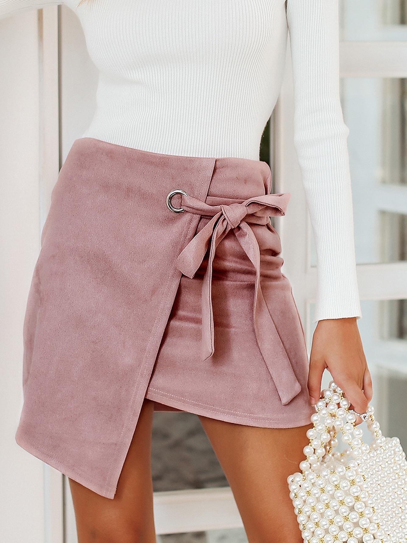 Фото - Simplee асимметричная замшевая юбка с узлом от SheIn розового цвета