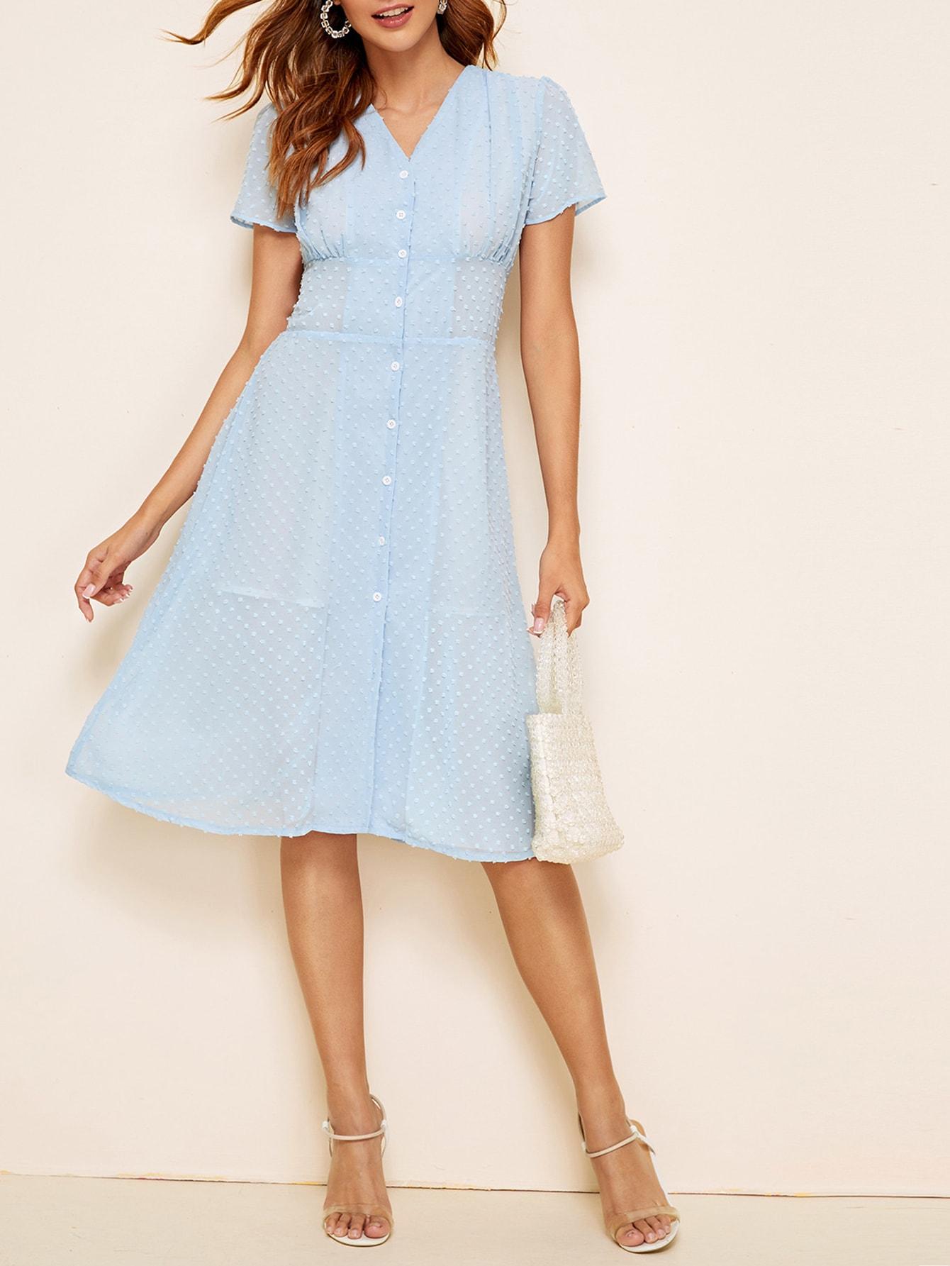 Фото - Платье с вышивкой и пуговицами от SheIn цвет синие