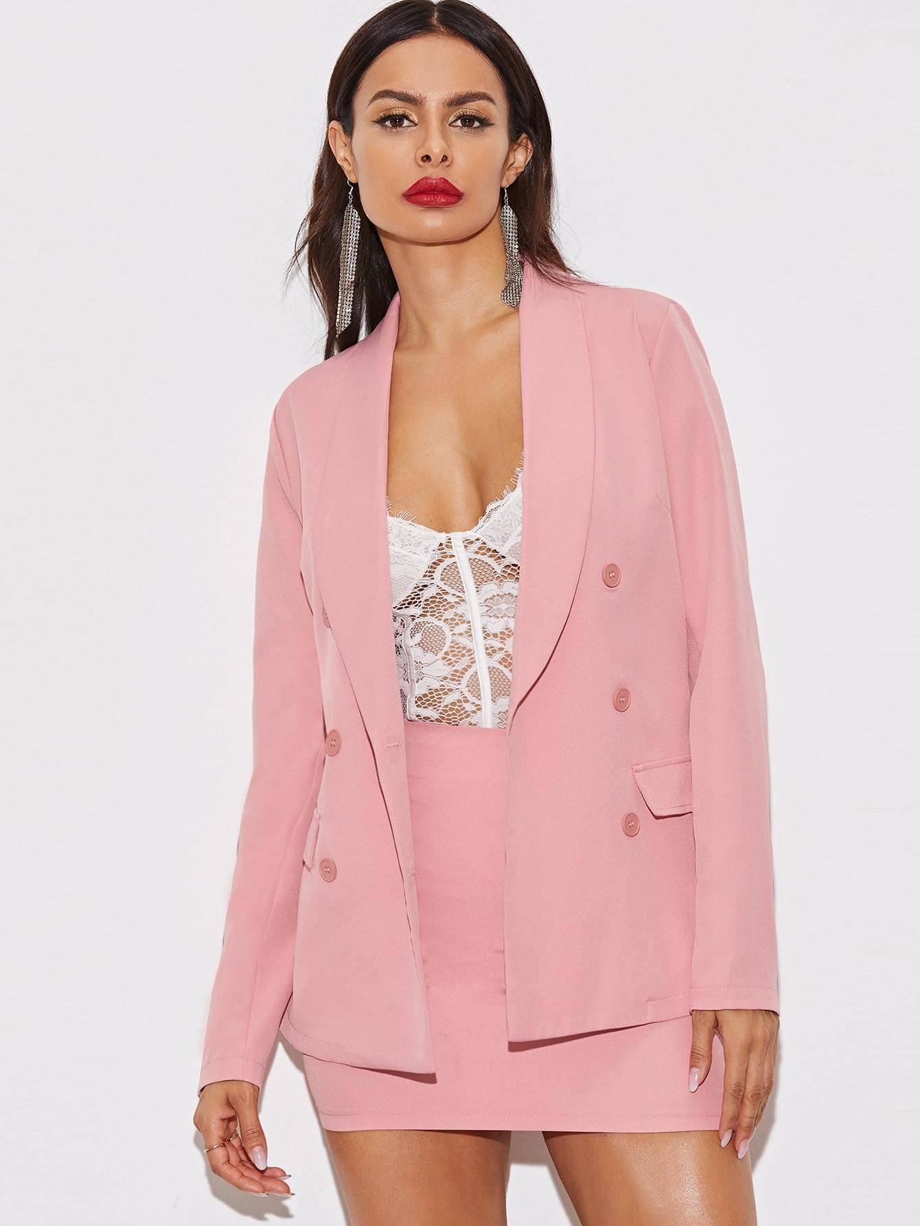 Фото - Однотонный пиджак с пуговицами от SheIn розового цвета
