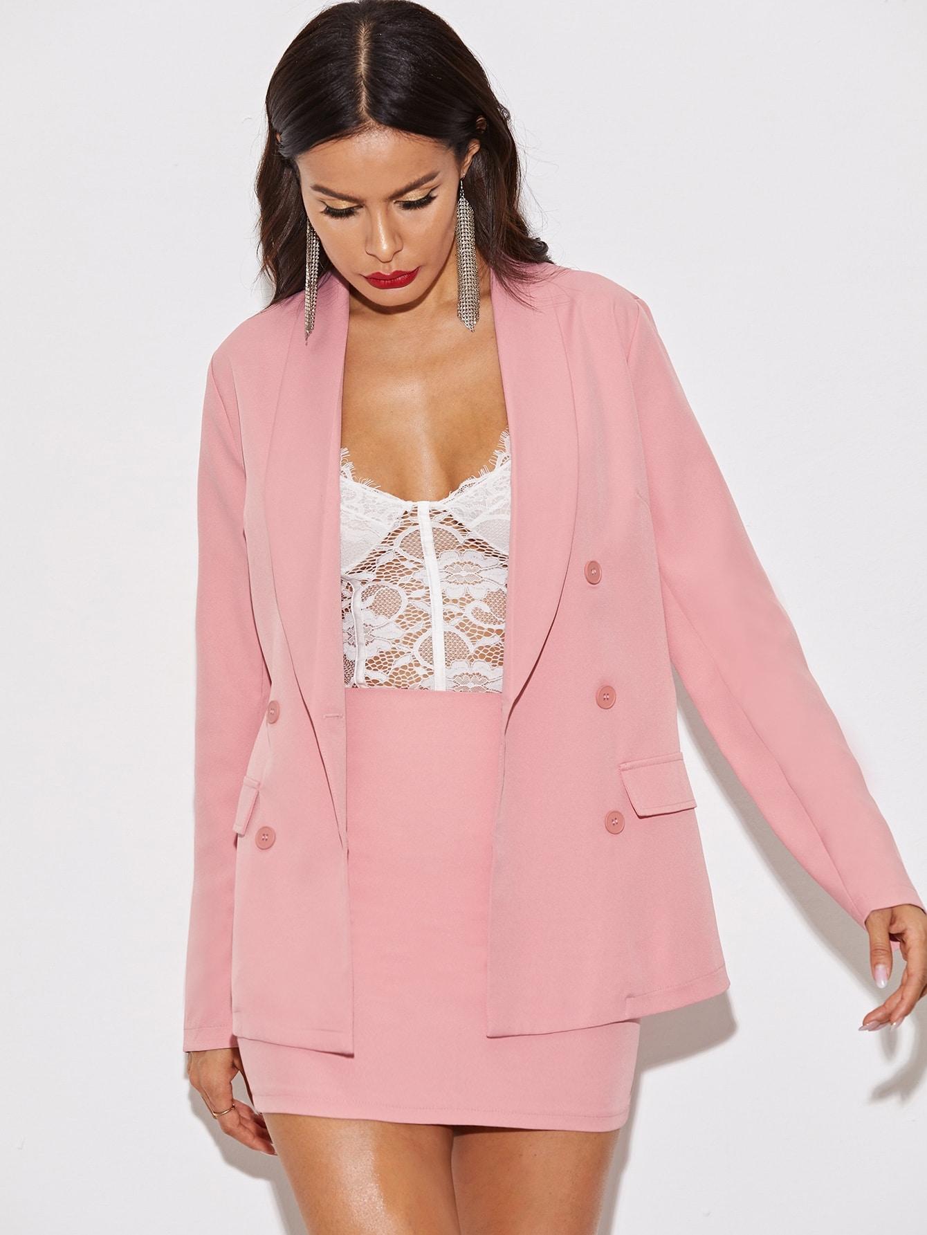 Фото - Однотонная юбка с молнией от SheIn розового цвета