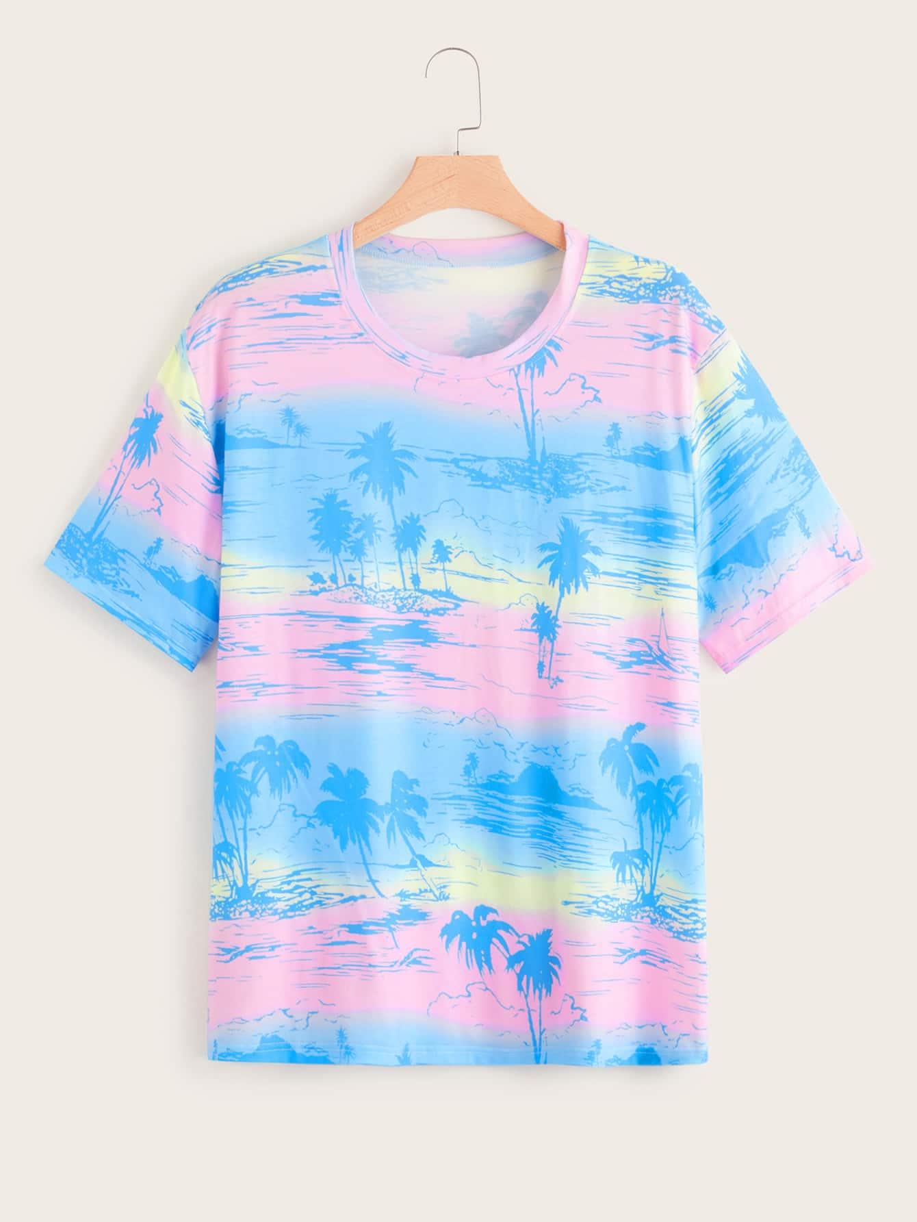 Фото - Разноцветная футболка размера плюс с графическим принтом от SheIn цвет многихцветные