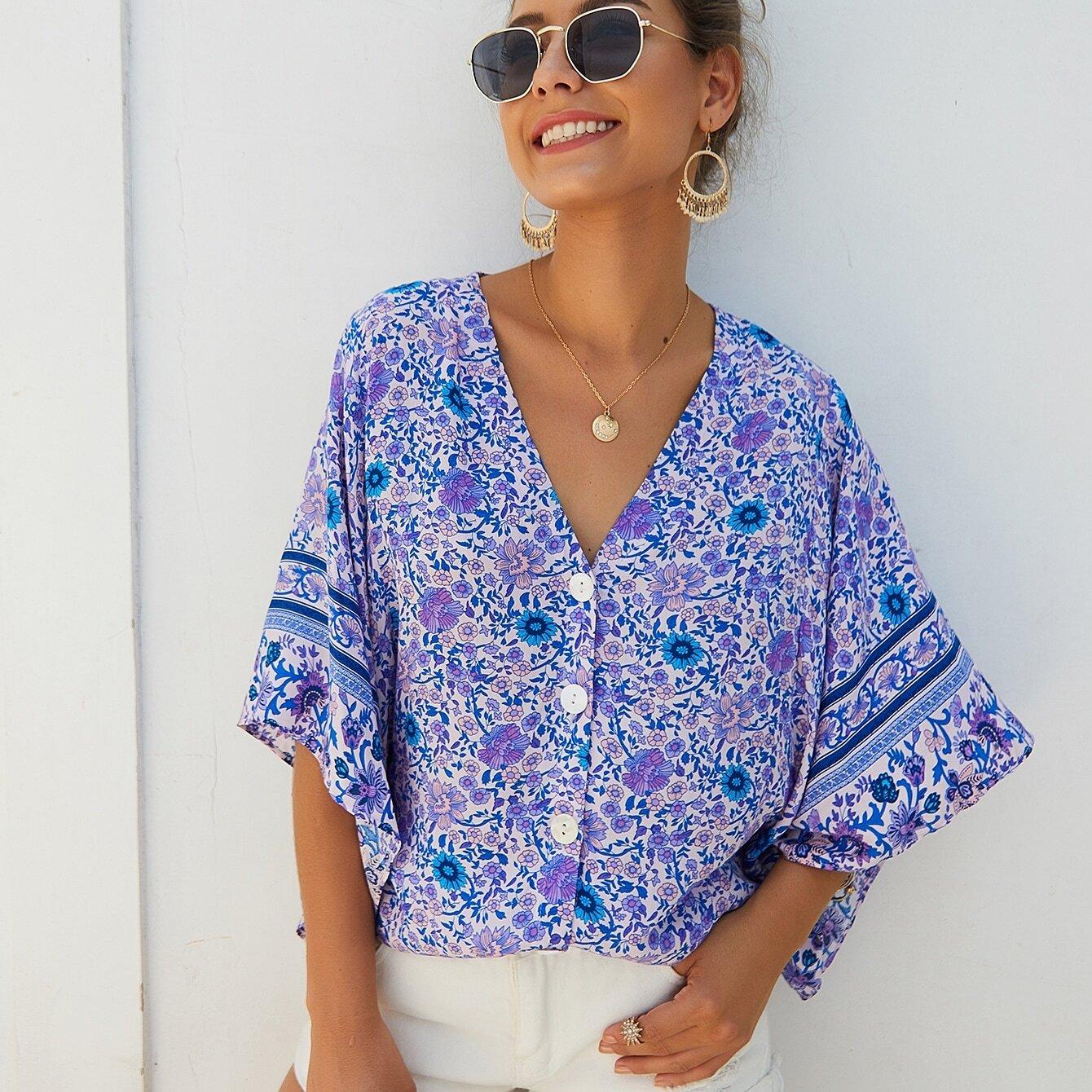SHEIN / Bluse mit Gänseblümchen Muster, Knöpfen vorn und Fledermausärmeln